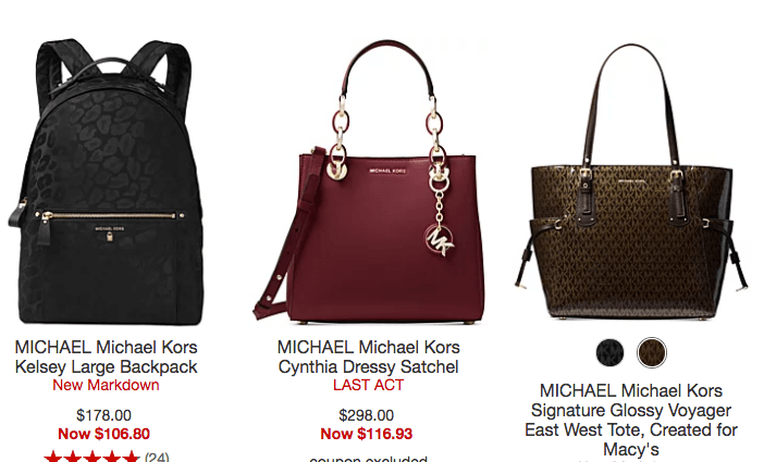 671115cd4018 Macy's: Up to 75% off Name Brand Handbags - MK, Coach, & More ...