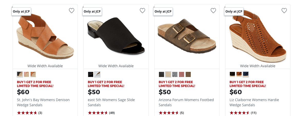 8f568d619 Buy 1 Get 2 Free - Women s Sandals   Flip Flops at JCPenney