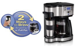 59% Off Hamilton Beach 2-Way Brewer Coffee Maker, Single-Serve with 12-Cup Carafe