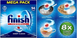 HOT STOCK UP PRICE! Finish All in 1 Dishwasher Detergent Tablets 94 ct