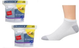 Hanes Men's Half Cushion White Low Cut Socks, 20 Pack $9.99 (Reg. $19.99)