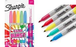 74% Off Sharpie Color Burst Permanent Markers, 5/Pack