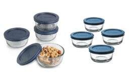 65% off Anchor Hocking Classic Glass Food Storage Containers with Lids, Blue, 1 Cup (Set of 4)