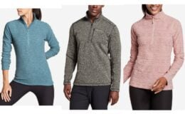 Eddie Bauer Men's Radiator Fleece 1/2-Zip or Women's Quest Fleece 1/4-Zip $19.99 (Reg. $70.00)