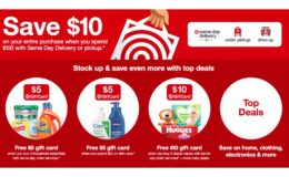 Target: Save $10 when you spend $100 with Same Day Delivery, Order Pickup or Drive Up