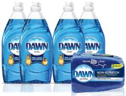 Stock Up Price on Dawn Ultra Dishwashing Liquid Dish Soap (4x19oz) + Non-Scratch Sponge (2ct)