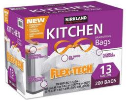 Huge Savings! Kirkland Signature Drawstring Kitchen Trash Bags 200 Count