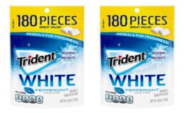 Stock Up NOW! Trident White Sugar Free Gum, Peppermint, 180 Count 4 Pack {Amazon}