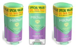 Stock Up + Coupon! Mitchum Women Gel Antiperspirant Deodorant Twin Pack, Shower Fresh, 3.4oz.