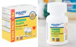 Equate Adult Low Dose Aspirin Enteric Coated Tablets, Twin Pack, 81 mg, 500 count just $5.97!