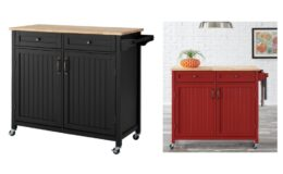Bainport Black Kitchen Cart with Butcher Block Top only $149.40 (reg.$249) at Home Depot!