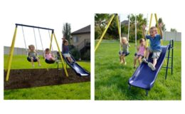 Sportspower Power Play Time Metal Swing Set with 5ft Heavy Duty Slide and Two Swings $119.99 Delivered!