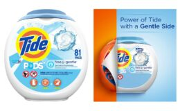 Great Price + Coupon! Tide Free and Gentle Laundry Detergent Pods, 81 Count on Amazon