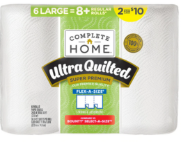 $3.99 Complete Home Paper Towels, 6pk at Walgreens