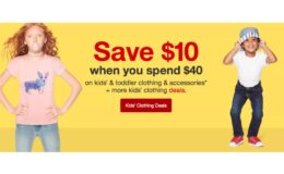$10 Off $40 Kid's and Toddler Clothing & Accessories at Target Online Only!