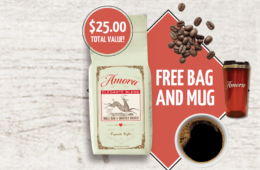 Get a Free Bag of Amora Coffee + a Free Mug + $1.00 Shipping!