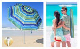 Extra 56% Off! SANSUNTEK Beach Umbrella with Sand Anchor and Tilt Aluminum Pole {Amazon}