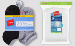 50% Off Hanes Boys': 5pk Crew T-Shirts $4.99, 20pk No Show Socks $6.99 at Target