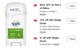 Toms of Maine Deodorant just $0.29 at Target | Just Use Your Phone