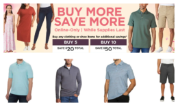 Costco:  Hot Online Deal on Clothing - Buy 5 Save $20, Buy 10 Save $50!