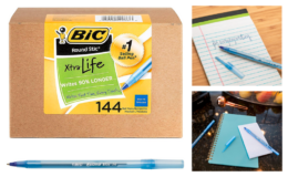 Extra 60% Off BIC Round Stic Xtra Life Ballpoint Pen, Blue, 144-Count {Amazon}