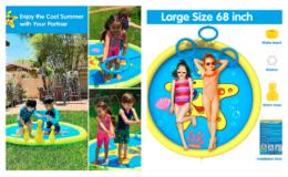 Amazon Prime Day | Extra Prime Discount! 68 Inch Sprinkler Splash Pad Toys for Kids & Toddlers