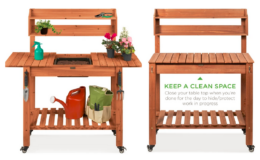 Pre-Stained Wood Garden Potting Bench w/ Sliding Tabletop, Dry Sink, Wheels now $129.99 (Reg. $249.99) + Free Shipping!
