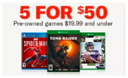 Pre-Owned Games on Sale 5 for $50 at GameStop! (reg. up to $60 each)