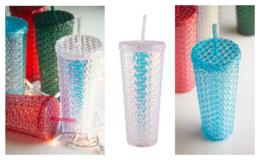 Holiday Time 26-Ounce Plastic Textured Tumbler with Straw, 4-Pack just $19.98
