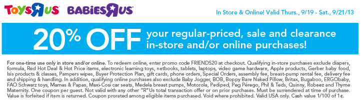 graphic about Toys R Us Coupons in Store Printable identify Toys R Us Coupon September 2013 - 20% off Obtain -Residing
