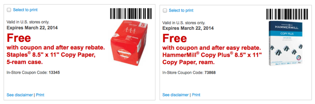 Hammermill $25 coupon staples