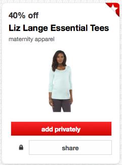 1aa05768c6071 Screen Shot 2014-10-06 at 10.22.28 AM. Clip: Target Liz Lange Essential  Tees Cartwheel Offer