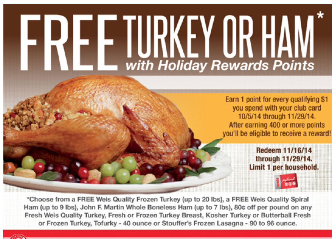 Weis Free Turkey - Earn a FREE Turkey, Ham + More Options -Living Rich With Coupons®