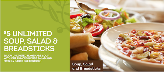 Olive Garden Coupon - $5 Unlimited Soup, Salad & Breadsticks -Living ...