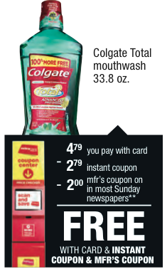 FREE Colgate Mouthwash at CVS.