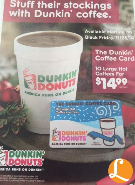 Dunkin Donuts Holiday Coffee Book 10 Large Coffees For