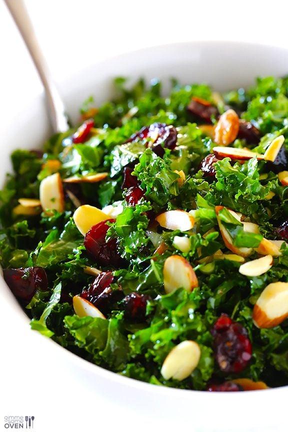 Kale Salad with Warm Cranberry Viniagrette
