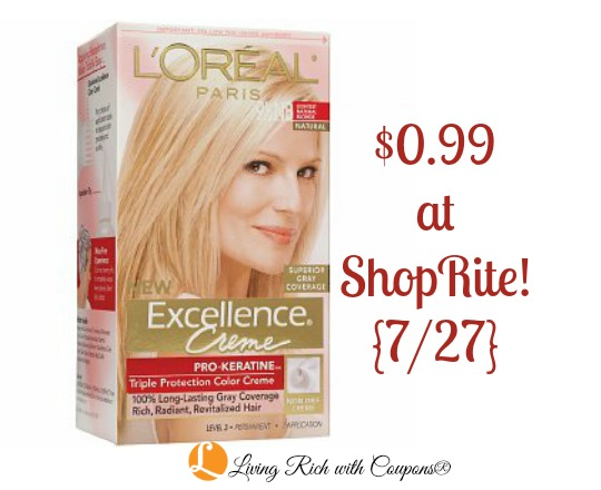 L Oreal Coupon L Oreal Excellence Hair Color Just 0 99 At Shoprite 7 27 Living Rich With