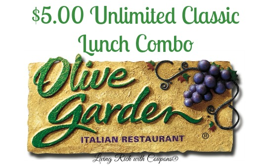 Olive Garden Coupon - $5 Unlimited Classic Lunch Combo -Living Rich ...